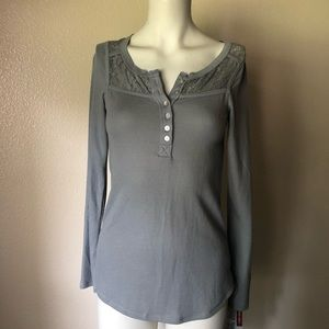Mossimo Waffle Knit Thermal Floral Lace Detail NWT